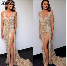 Evening party dress women elegant sexy dresses vestidos gold sequined long evening maxi clubwear Xnxee