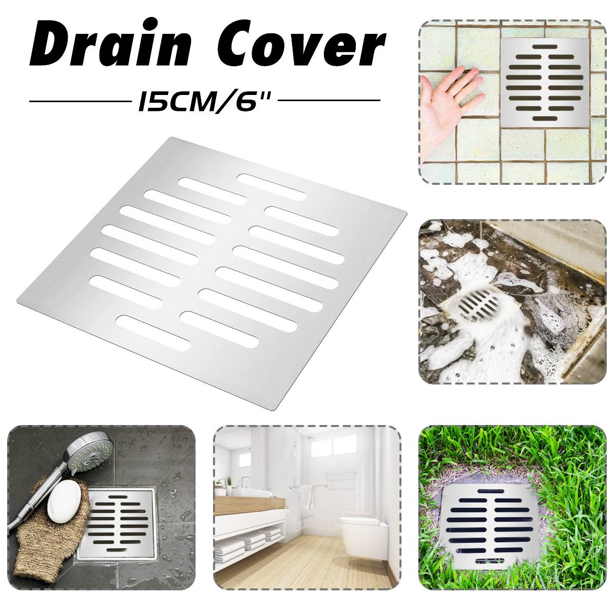 Xueqin NEW Shower Drain Thick Stainless Steel Floor Drain Cover Strainer Bathroom Bath Accessories Garden Drains Cover 15X15cm