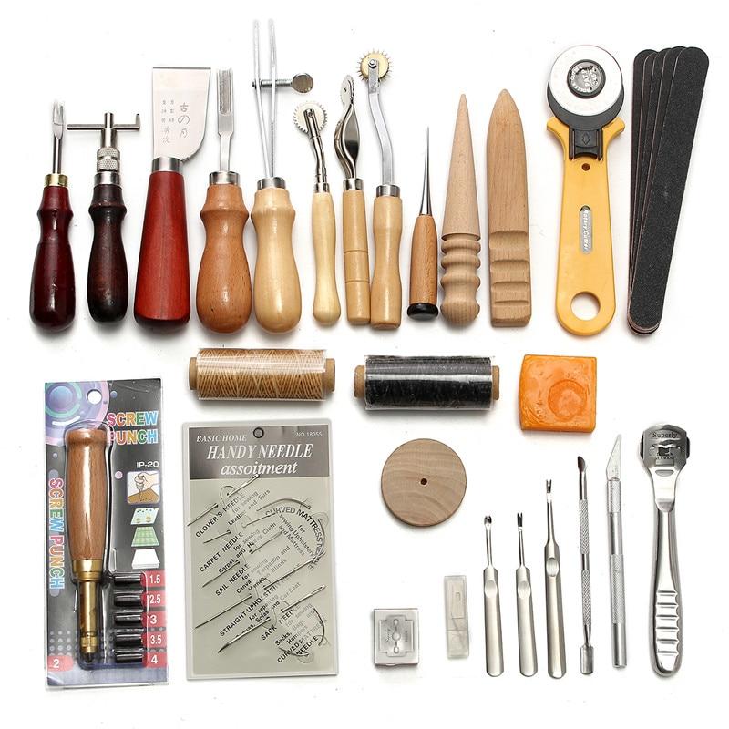37 pièces cuir artisanat outils Kit couture à la main professionnel couture poinçon sculpture travail selle maroquinerie ensemble