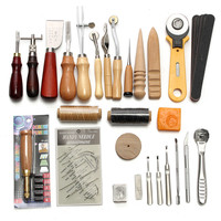 37Pcs Leather Craft Tools Kit Hand Sewing Professional Stitching Punch Carving Work Saddle Leathercraft Set