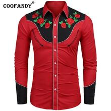 Men Casual Long Sleeve Turn-down Collar Button Floral Embroidery Spring, Autumn Western Shirt Embroidery, Botton