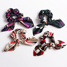 Fashion 1PC New Big Bowknot Women Hair Rope Elastic Floral Print Band Girls Hairband