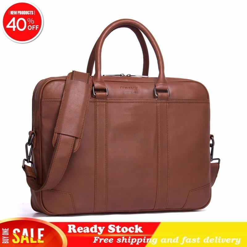Luxury Brand Business Affairs Briefcase Genuine Leather Single Shoulder Package Leisure Time Portable High Quality Male Best