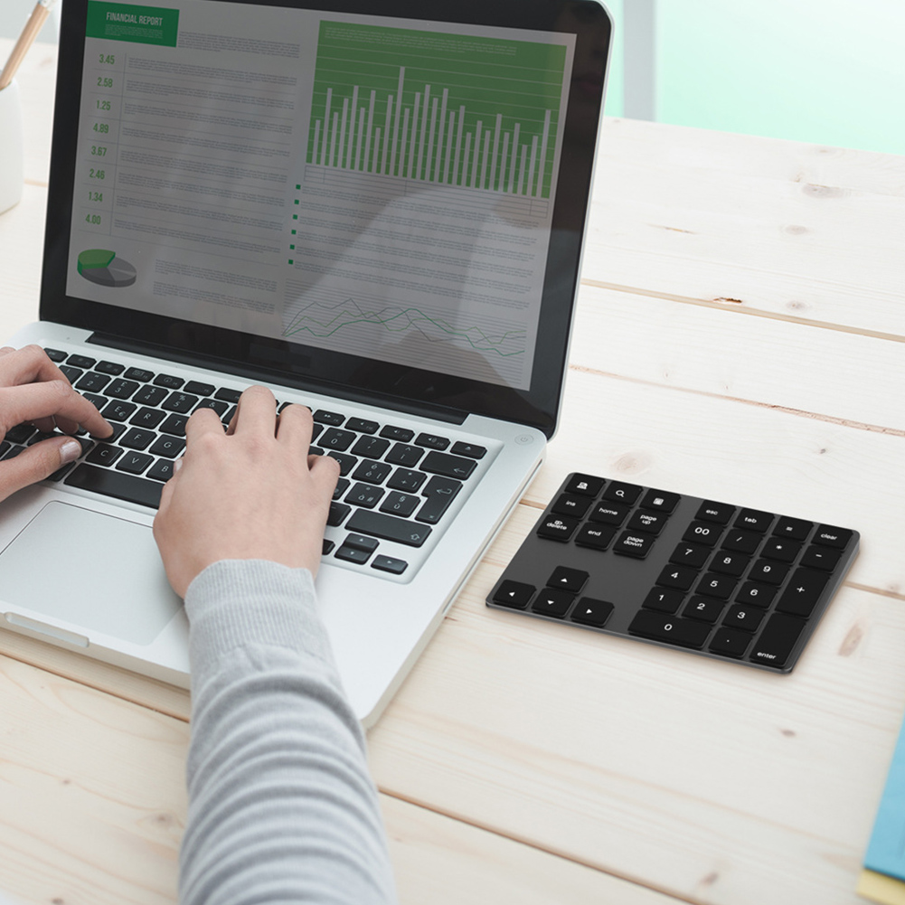 34 Keys Wireless Bluetooth Mini Numeric Keyboard For Apple Android for MacBook PC Desktop Laptop Aluminum Alloy Digital ~