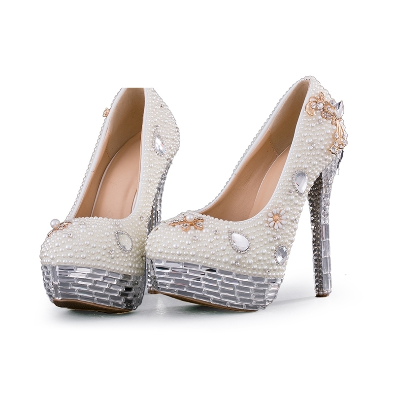 Crystal Wedding Shoes Plus Size White Pearl Bridal Dress Pumps New Design Luxury Rhinestone Platform Prom Event High Heels цена
