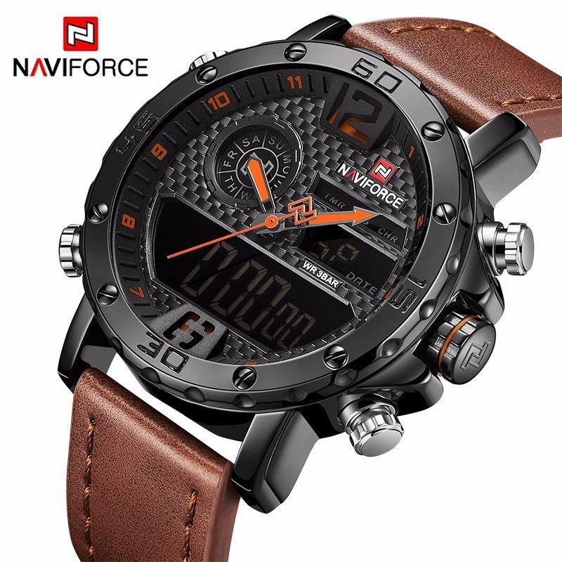 Mens Watches To Luxury Brand Men Leather Sports Watches NAVIFORCE Mens Quartz LED Digital Clock Waterproof Military Wrist WatchMens Watches To Luxury Brand Men Leather Sports Watches NAVIFORCE Mens Quartz LED Digital Clock Waterproof Military Wrist Watch