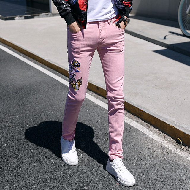 2019 new youth low waist color sexy trend boring embroidery pink flower jeans male student slim feet pants