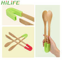HILIFE Grip Silicone Toaster Tongs Bamboo Food Tongs Cooking Tools Non-Stick Snack Clip Wooden Clip Cake Pastry Steak BBQ Tongs