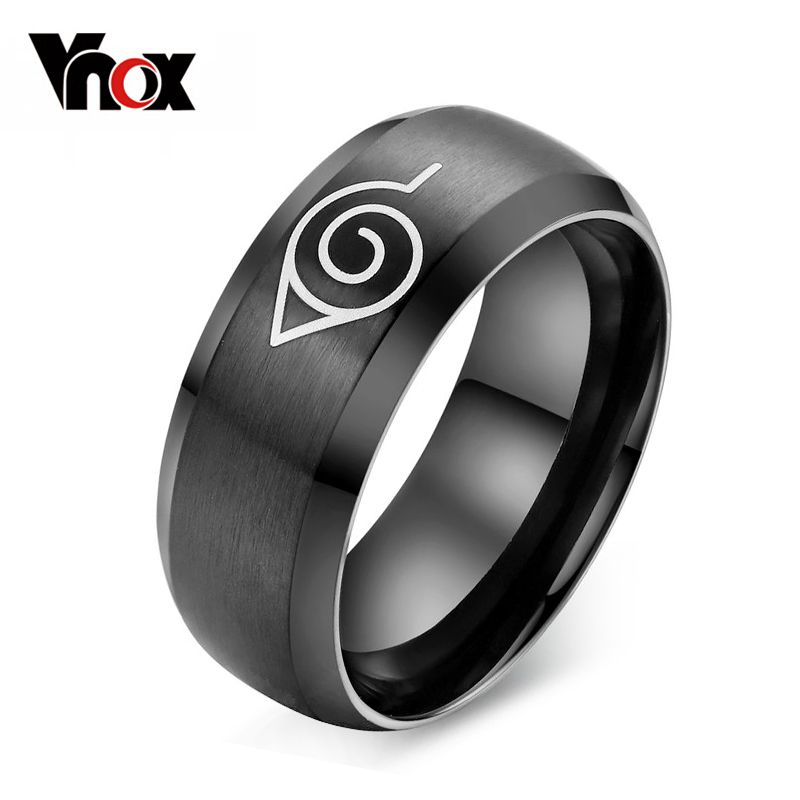 fashion black naruto ring 316l stainless steel jewelry for men and women  R-025 mariposa en plata anillo