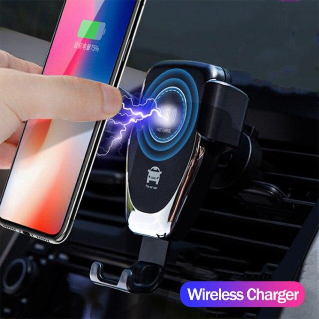 Soporte para teléfono rápido 10 W inalámbrico cargador de coche soporte de ventilación de aire para iPhone XS Max Samsung S9 Xiaomi MIX 2 S Huawei Mate 20 Pro 20 RS
