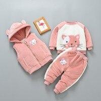Toddler Boys Clothing Set Girls Plus Velvet Cute Cat Sweatshirt Hooded Vest Thick Pants 3pcs Cashmere Warm Newborn Baby Suits