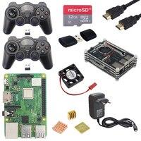 Acrylic Case+Fan+32G Sd Card+3A Power Adapter+2 Gamepads+Hdmi Cable+Heat Sink Kits For Retropie Raspberry Pi 3 Model B Plus+(E