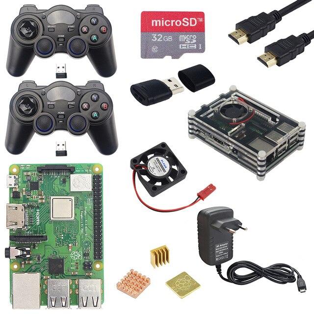 Boîtier acrylique + ventilateur + carte Sd 32G + adaptateur secteur 3A + 2 manettes + câble Hdmi + Kits dissipateur de chaleur pour Retropie Raspberry Pi 3 modèle B Plus + (E