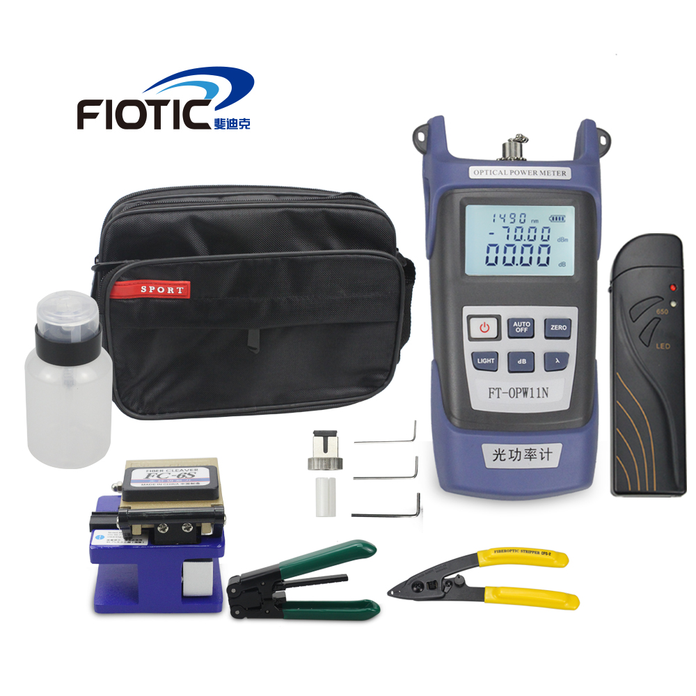 Fiber optic FTTH Tool Kit with Fiber Cleaver FC6S  Optical Power Meter 5KM Visual Fault Locator 1MW Wire stripper miller clampFiber optic FTTH Tool Kit with Fiber Cleaver FC6S  Optical Power Meter 5KM Visual Fault Locator 1MW Wire stripper miller clamp