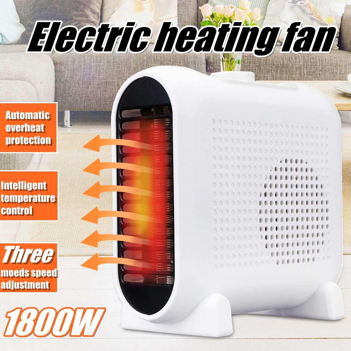 1800W 3 Speeds Electric Heater Mini Fan Heater Desktop Household Wall Handy Heating Stove Radiator Warmer Machine for Winter