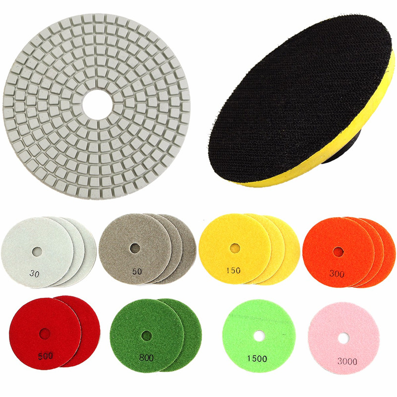19Pcs Diamond Polishing Pad Discs 4inch Backer Pad 30-3000 Grit For Granite Marble Concrete Stone Wet/Dry Diamond Polishing Disc
