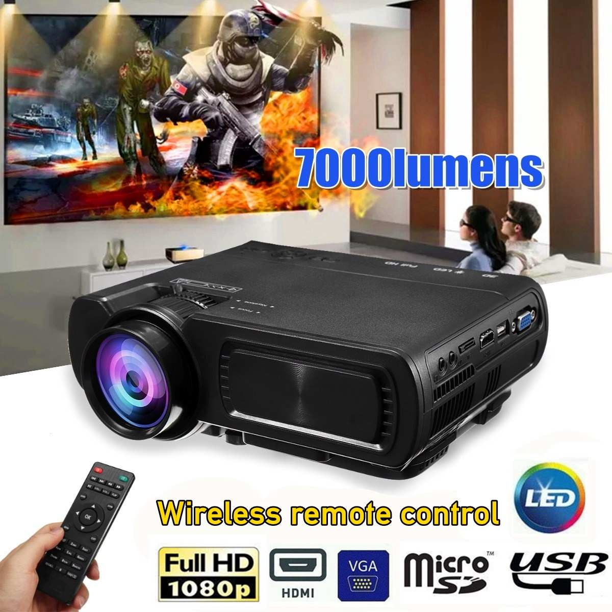 1080P 3D <font><b>7000</b></font> <font><b>Lumen</b></font> LED Projector Home Theater Multimedia HDMI/USB/VGA image