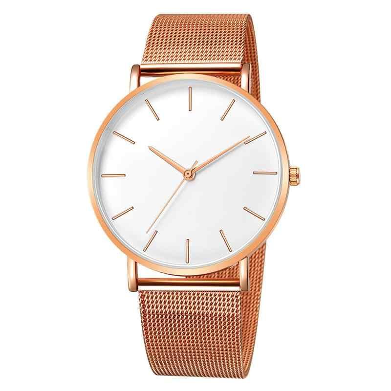 Reloj de pulsera de cuarzo analógico de acero inoxidable de malla de Metal de negocios de lujo para mujer
