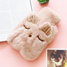 Durable Safe Leakproof Soft Hot Water 750ML Bottle Home, Office, etc Cat, Bear, Rabbit Bag With Plush Warm Cover