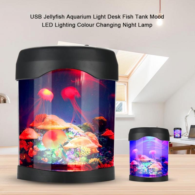 Nuevo estilo USB acuario luz pecera escritorio decoración Mini pecera humor LED iluminación cambio de Color Lámpara de noche