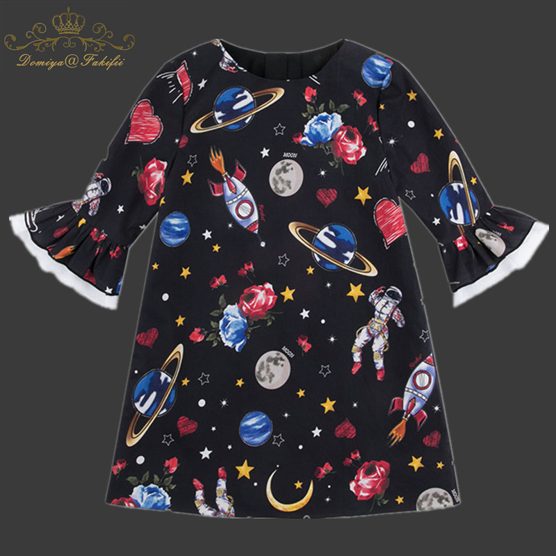 Girls Dress with Star Wars Pattern Flare Sleeve Princess Dress Children Costume Robe Fille Kids Party Dresses Baby Girl Clothes new year girl dress princess costume long sleeve christmas dresses red kids clothes flower bow robe fille children vestido 4 11y