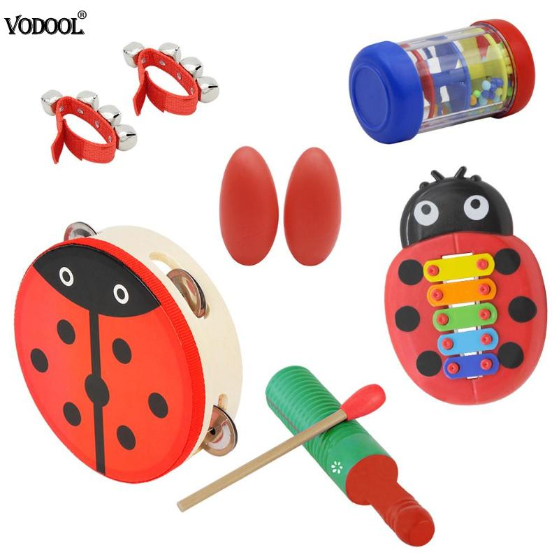 8pcs Orff Musical Instrument Set Cartoon Little Knocking Piano Kids Early Educational Toy Gift Baby Grasp Hand Bell Music Toy
