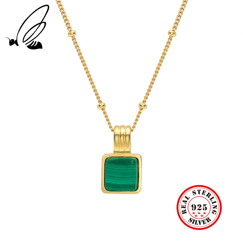 925 Sterling Silver Green Square Malachite Geometry Pendant Necklace Gold Round Bead Chain Necklace For Women Jewelry Charms  925 Sterling Silver Green Square Malachite Geometry Pendant Necklace Gold Round Bead Chain Necklace For Women Jewelry Charms