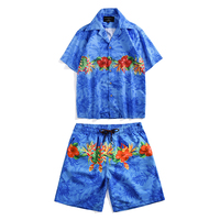 Island Couple Beach Shirt Suit 2019 Summer New Turtle Bamboo Print Holiday Large Size Casual Short Sleeved Shirt Tide