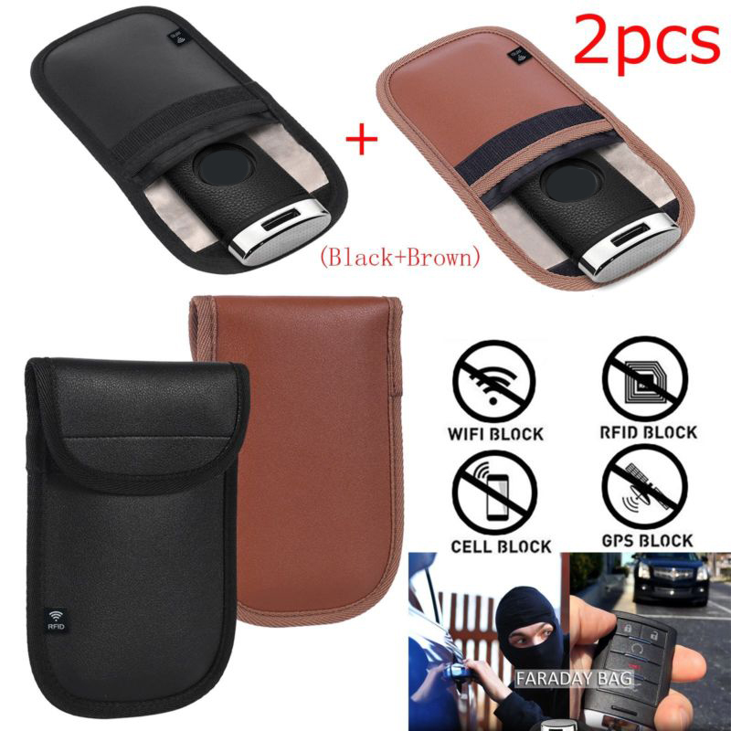2x Anti theft RFID Signal Blocking Faraday Keyless Entry Car Key Pouch Case Bag RFID Signal Blocking Bag Cover Keychain Key Key Case for Car     - title=