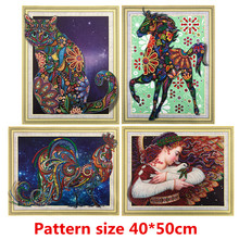 5D DIY Diamond Painting Cartoon Character Animal Pattern Special Shape Cross Embroidered Crystal Round Mosaic