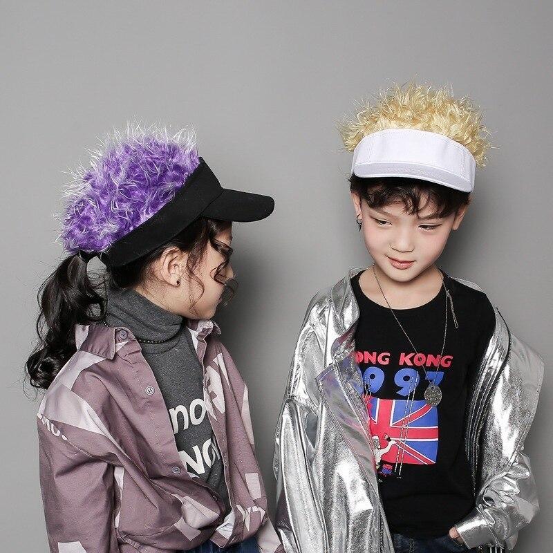 Novelty Unisex Kids Adults Cap Fake Flair Hair Sun Visor hats caps men Women Toupee Wig Funny Hair Loss Cool Gifts Golf Cap Hat бейсболк мужские