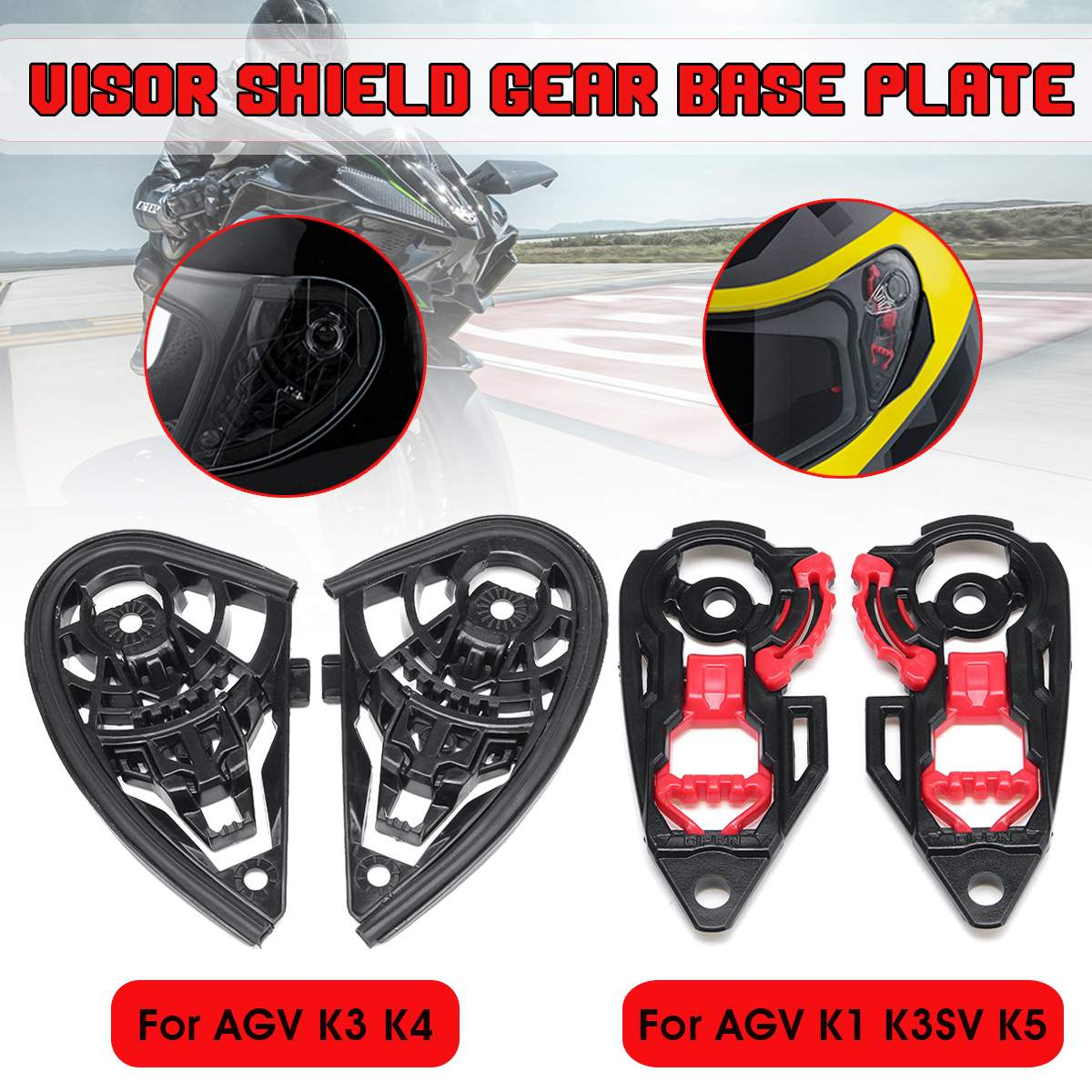 Pair Motorcycle Helmet Visor Shield Gear Base Plate Lens Holder For AGV K1 K3SV K5 / K3 K4Pair Motorcycle Helmet Visor Shield Gear Base Plate Lens Holder For AGV K1 K3SV K5 / K3 K4