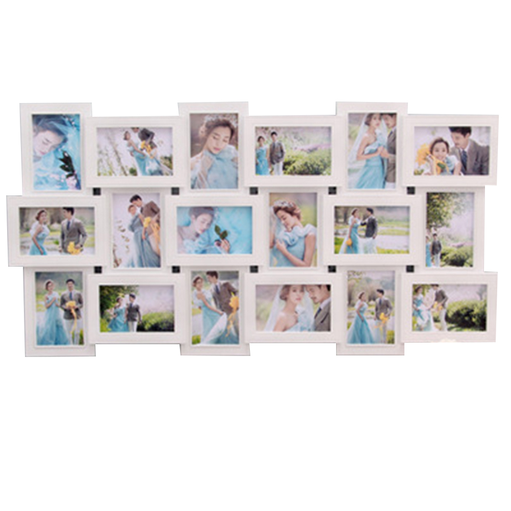 1pc Photo Frame Square 18 Photo Sockets Wall Hanging PVC Decorative Collage Picture Frame Selfie Gallery