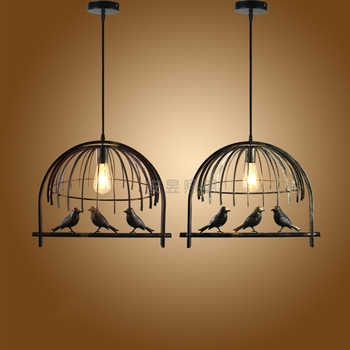 Retro Industrial E27 Pendant Lights Iron Bird Cage Aisle Lamps Nordic Modern Personality Living Room Pendant Lamps