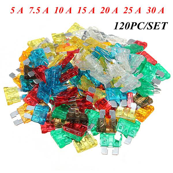 120PCS/set Assorted Mixed Standard Car Auto Blade Fuse 5 A  7.5 A  10 A  15 A  20 A  25 A  30 A