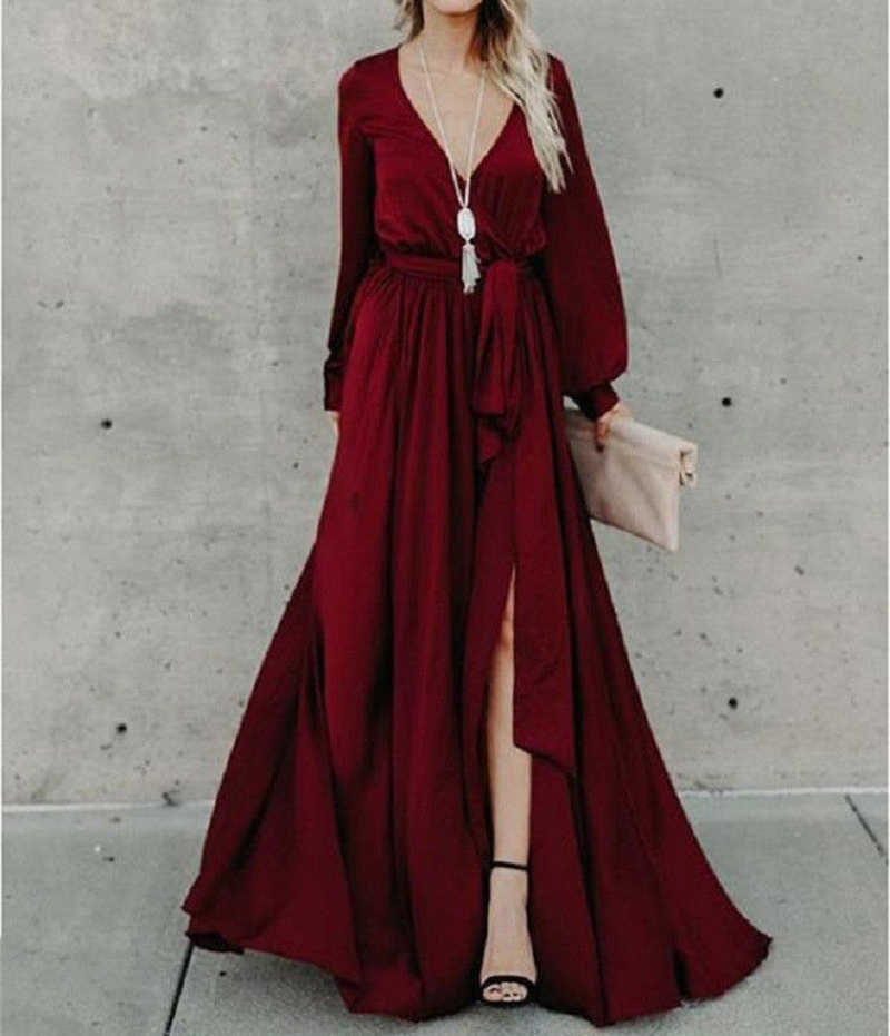 be4e984e2cab Women Solid Maxi Jumpsuit Fashion long Lantern Sleeve Deep V-Neck High Waist  Long Wide