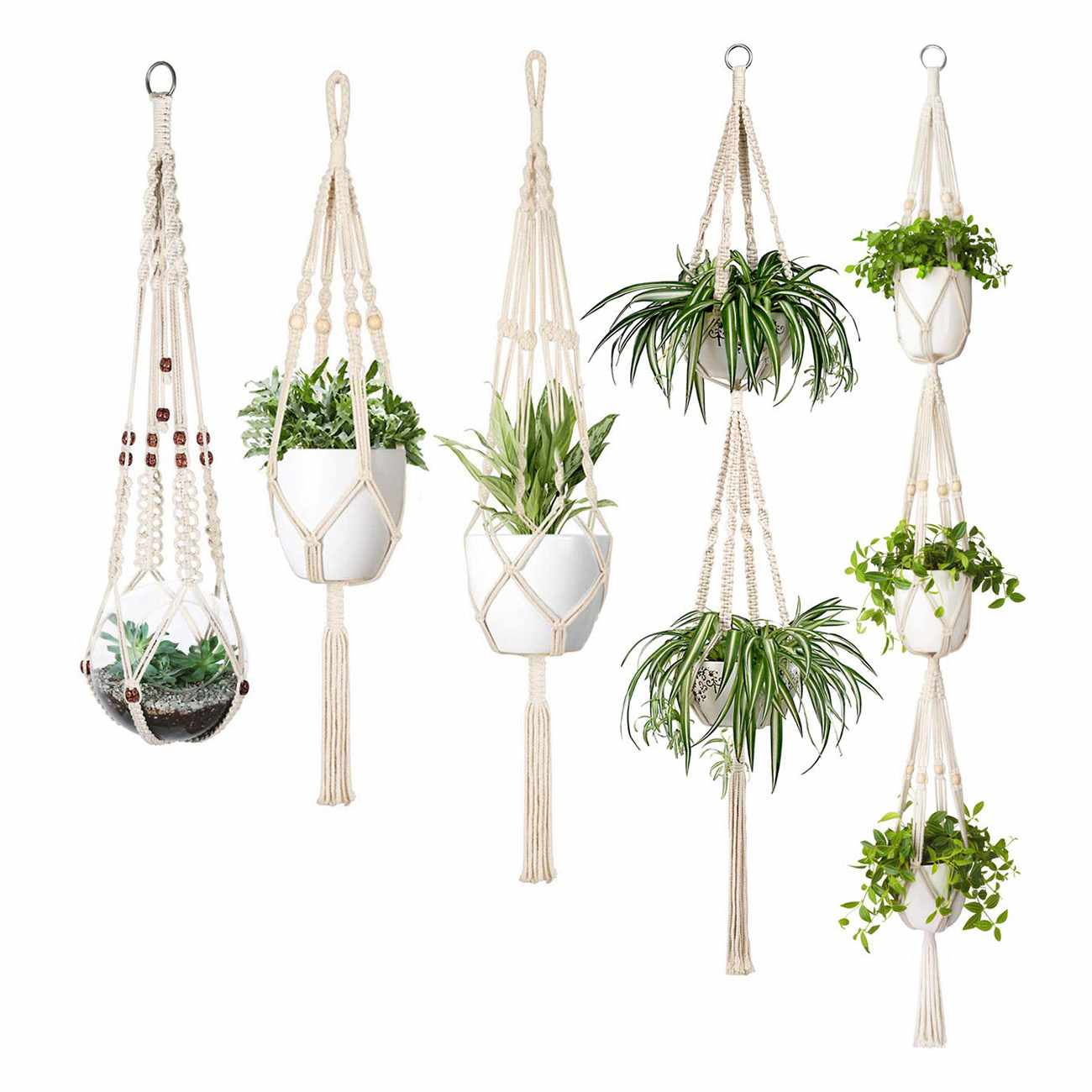 Gastvrij Macrame Plant Hanger Set Van 5 Indoor Muur Opknoping Planter Mand Bloempot Houder Boho Home Decor