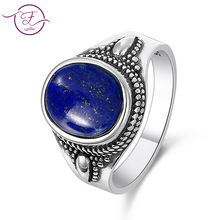 Sterling silver 925 men and women jewelry retro ring 8x10MM lapis lazuli & purple dragon crystal oval gem gift party