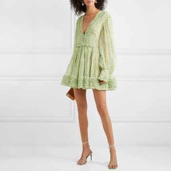 TWOTWINSTYLE Casual Print Mini Dress Women V Neck Lantern Sleeve Ruffles Bandages High Waist Loose Dresses Female Fashion 2019