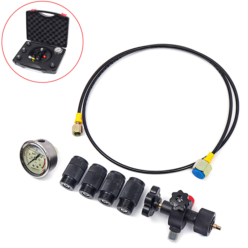 0-400Bar 6000Psi Pressure Gauges Test Kit Gauges Set Hydraulic Accumulator Nitrogen Charging Fill Gas Valve Five Type Adapter
