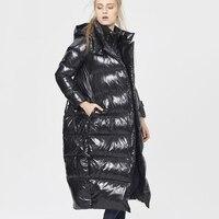 5XL Размеры Для женщин Зимние черные сапоги Глянцевая длинный пуховик 2019 Новая мода с фальш вставкой, с капюшоном на белом утином пуху пальто