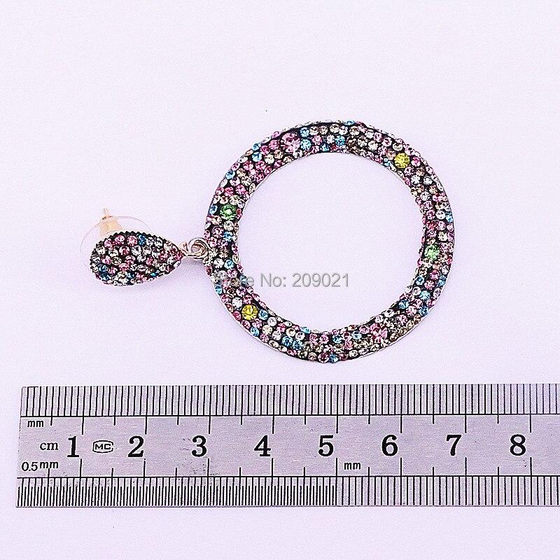 Mode 4 paires bijoux faits à la main Pave arc en ciel strass rond cercle boucles d'oreilles pour les femmes-in Boucles d'oreilles pendantes from Bijoux et Accessoires    3