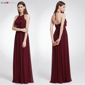 Image 3 - Ever Pretty элегантные сексуальные Длинные Бордовые Платья для подружки невесты, шифоновое платье с v образным вырезом и открытой спиной для свадебной вечеринки, платье подружки невесты