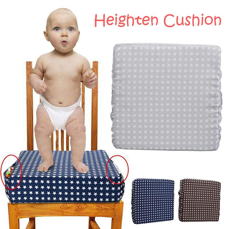 2019 New Hot Adjustable Detachable High-density Sponge Linen Baby Child Dining Chair Heightening Cushion P4R