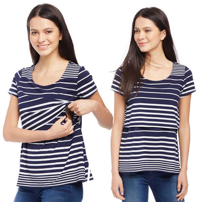 df6c07dfa8de4 ... Fashion Womens Maternity T-Shirt Blouse Summer Breastfeeding Striped T-Shirt  Short Sleeve Nursing ...