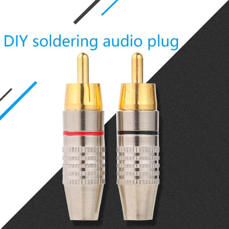 10pcs RCA Soldering Connector Audio Video Plug DIY RCA Speaker Adapter Plug
