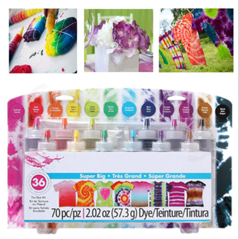 12 Bottles Tulip Permanent One Step Tie Dye Set DIY Kits For Fabric Textile Craft Arts Clothes For Solo Projects Dyes Paint