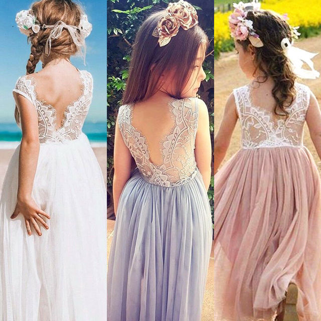 Toddler Kids Baby Girls Dress Flower Lace Neck Sleeveless Backless Back V Tulle Party Dress Bridesmaid Pageant Dresses