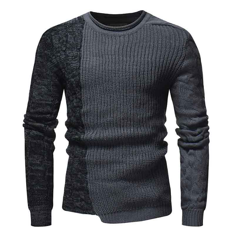 Sweater Men Casual Patchwork Long Sleeve Pullover O-Neck Collar Slim Fit Men's Sweater
