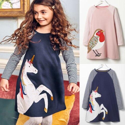 Dzieci dziecko kwiat dziewczyny sukienka koń kreskówkowy ptak księżniczka sukienki na przyjęcie urodzinowe dla dzieci